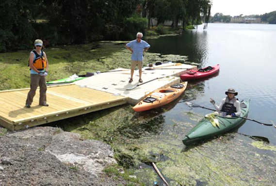 Kayak launch area with algae