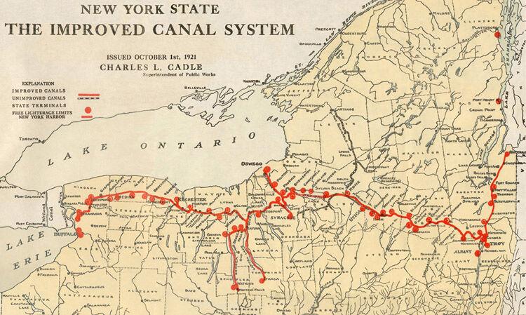 Erie Canalway National Heritage Corridor Historic Landmark: New York Canal System Map At Slyspyder.com